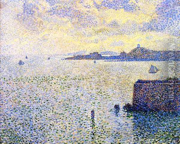 Sailing Boats in an Estuary, c.1892-93 Oil Painting - Theo van Rysselberghe