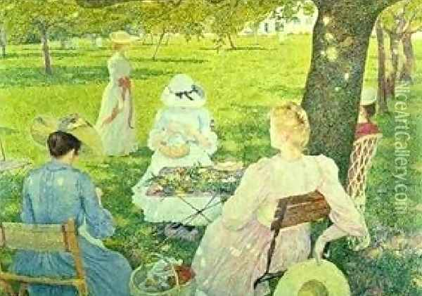 Family In The Orchard Oil Painting - Theo van Rysselberghe