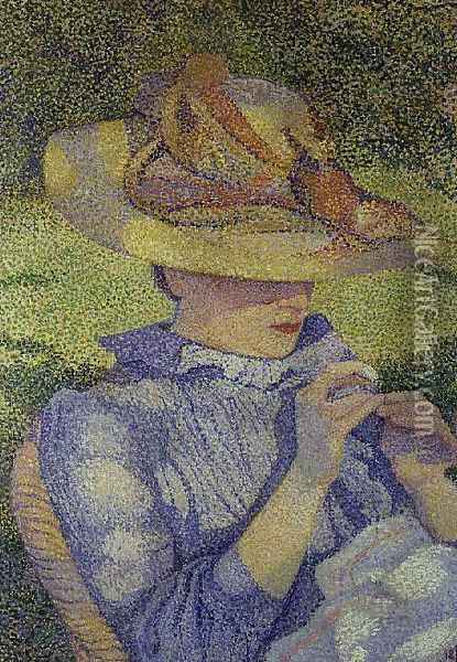 The Straw Hat, 1890 Oil Painting - Theo van Rysselberghe