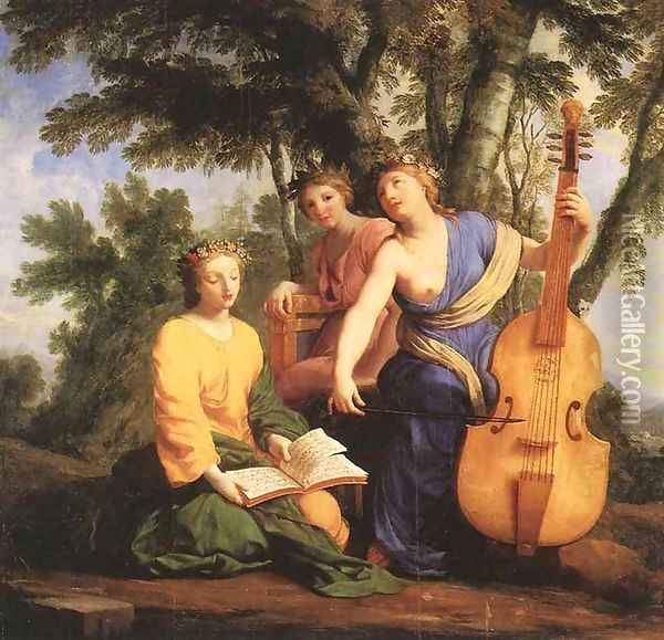 The Muses- Melpomene, Erato and Polymnia 1652-55 Oil Painting - Eustache Le Sueur