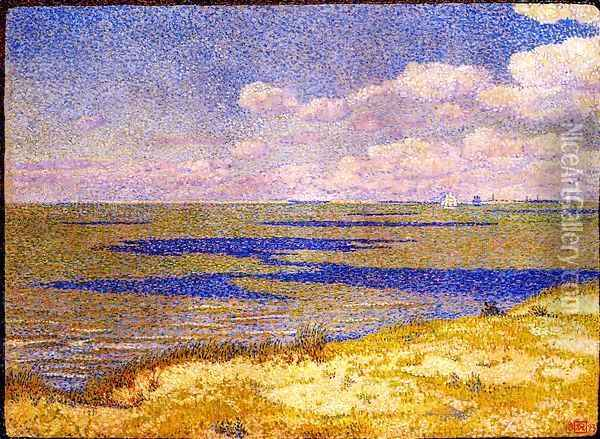 View of the River Scheldt, 1893 Oil Painting - Theo van Rysselberghe
