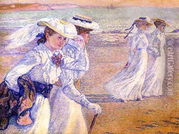 The Promenade Oil Painting - Theo van Rysselberghe