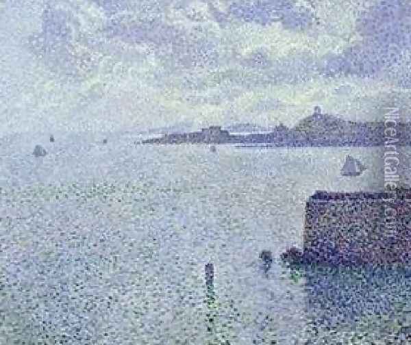 Sailing Boats In An Estuary Oil Painting - Theo van Rysselberghe