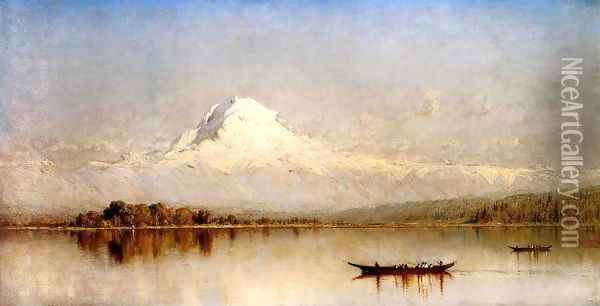Mount Rainier Bay Of Tacoma Oil Painting - Sanford Robinson Gifford