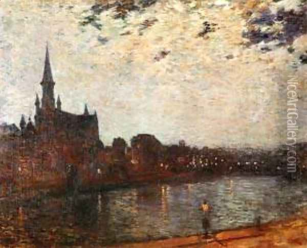 LEglise Sainte Croix At Ixelles At Night Oil Painting - Theo van Rysselberghe