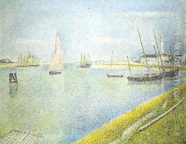 The Channel At Gravelines In The Direction Of The Sea Oil Painting - Georges Seurat
