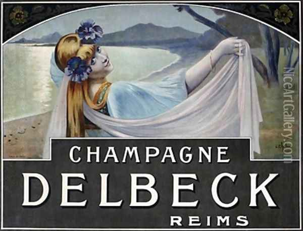 Advertisement for Champagne Delbeck Oil Painting - Louis Chalon
