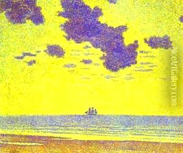 Heavy Clouds Christiania Fjord Oil Painting - Theo van Rysselberghe