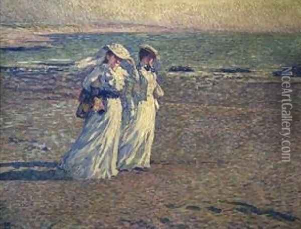 A Stroll On The Beach Oil Painting - Theo van Rysselberghe