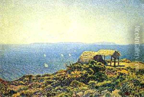 Ile Du Levant View From Cape Benat Brittany Oil Painting - Theo van Rysselberghe