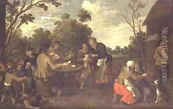Peasants playing cards and children brawling Oil Painting - Joost Cornelisz. Droochsloot