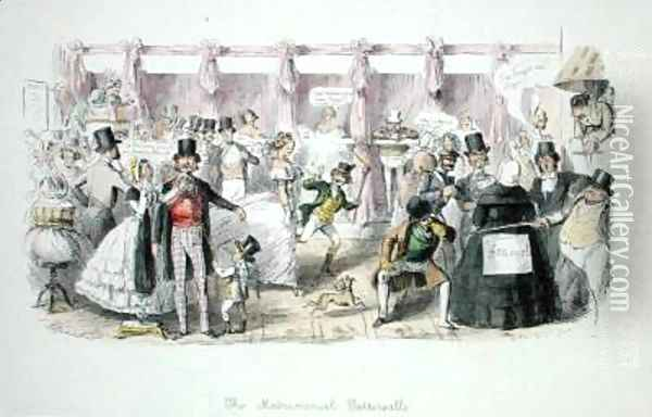 The Matrimonial Tattersalls Oil Painting - John Leech