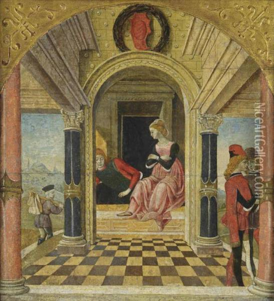 Panels Florio In The Bedchamber Of Biancifiore Oil Painting - Master Of Bentivoglio Manfredi