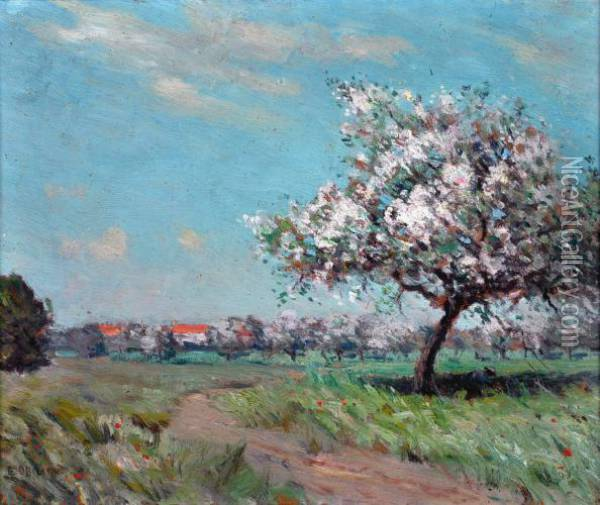 figure And Apple Blossom, Normandy  Oil Painting - Edward Officer