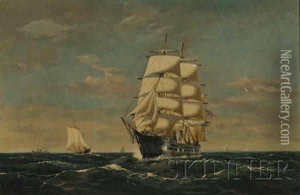 View Of A Three-masted Clipper Ship Oil Painting - James Francis Williams