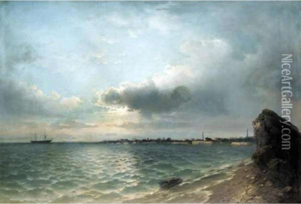 Clouds Gathering Over The Harbour Oil Painting - Ivan Konstantinovich Aivazovsky