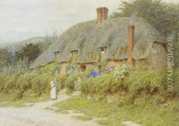 Old Cottages Near Downton, Wiltshire Oil Painting - Helen Mary Elizabeth Allingham