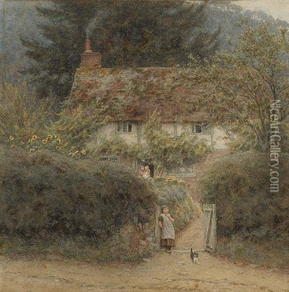 Cottage At Grayswood, Near Witley, Surrey Oil Painting - Helen Mary Elizabeth Allingham