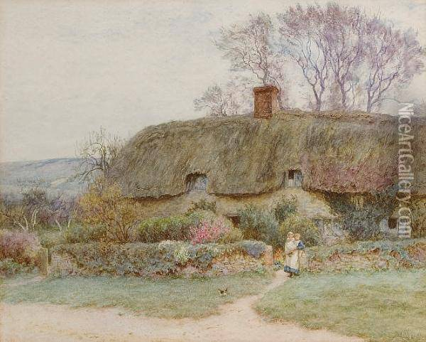 A Cottage Near Freshwater, Isle Of Wight Oil Painting - Helen Mary Elizabeth Allingham