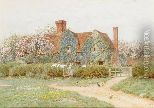Buckinghamshire House At Penn Street Oil Painting - Helen Mary Elizabeth Allingham