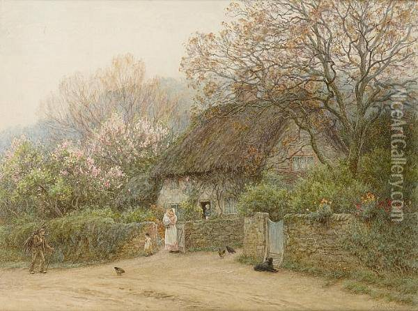 Thatched Cottage With Figures Oil Painting - Helen Mary Elizabeth Allingham
