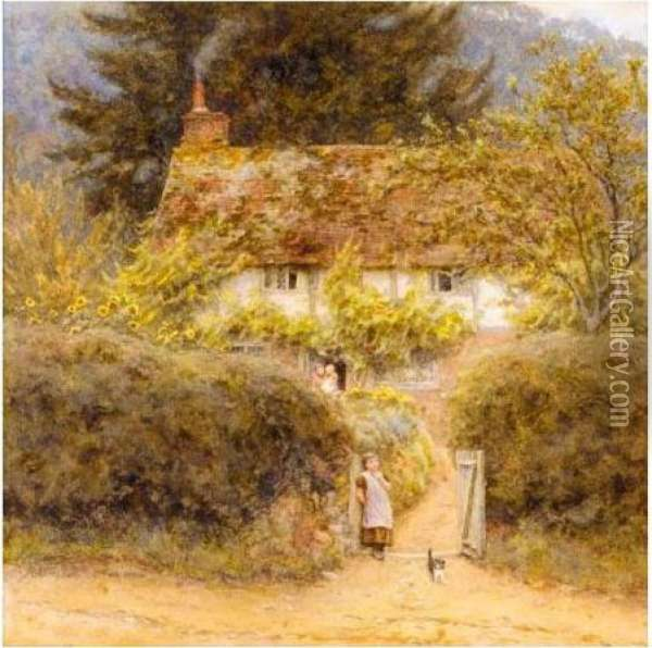 Cottage Atgrayswood Near Witley Oil Painting - Helen Mary Elizabeth Allingham