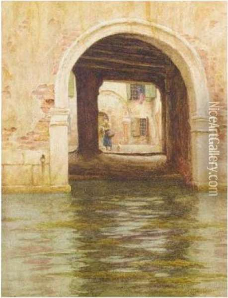 A Side Canal, Venice Oil Painting - Helen Mary Elizabeth Allingham
