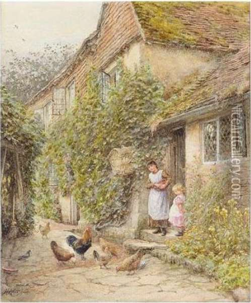 Feeding Fowl Oil Painting - Helen Mary Elizabeth Allingham