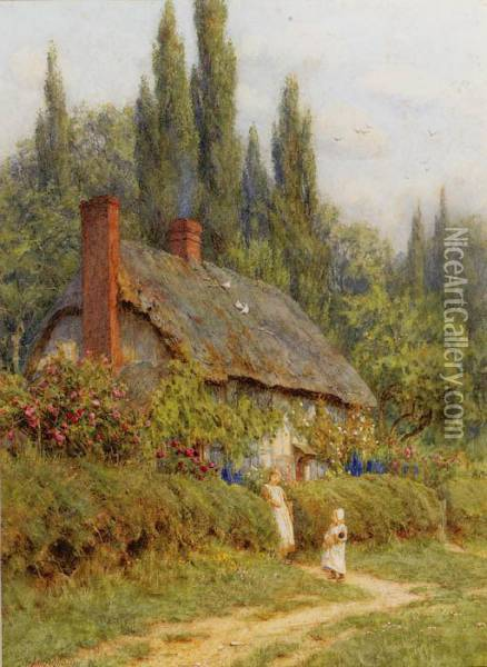 Children On A Path Outside A Thatched Cottage, West Horsley,surrey Oil Painting - Helen Mary Elizabeth Allingham