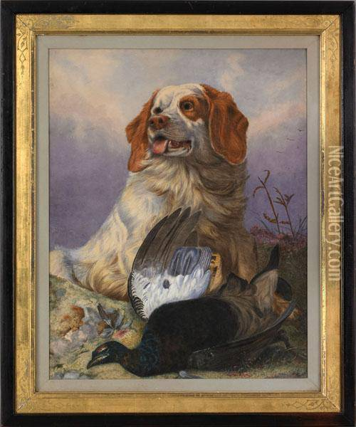 Spaniel And A Pheasant In A Landscape Oil Painting - Richard Ansdell