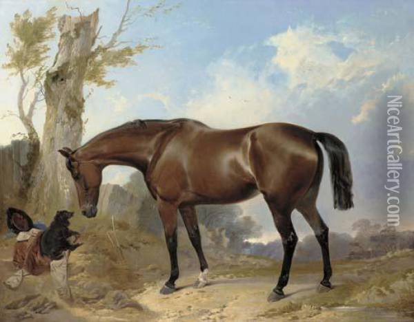 A Bay Hunter And Dog In A Landscape Oil Painting - Richard Ansdell