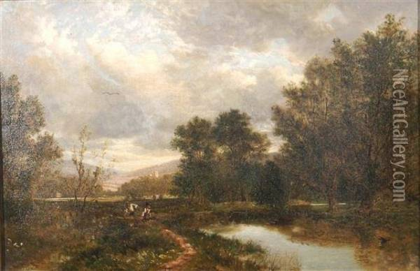 A Wooded Landscape With Anglers Fishing Off A Riverbank Oil Painting - David Bates