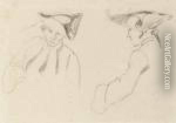 Sketch Of Two Figures In Military Dress Oil Painting - Richard Parkes Bonington