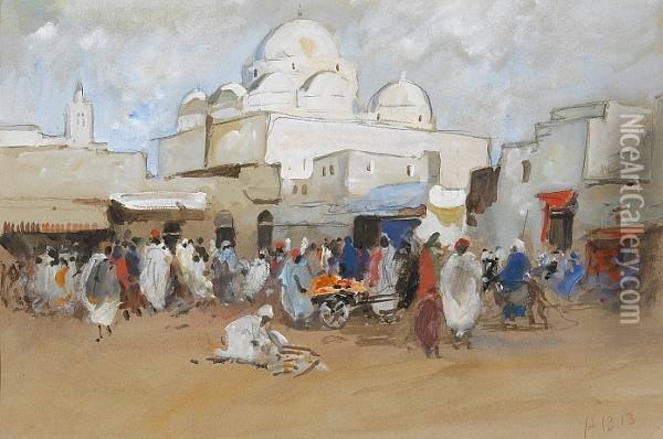 A View Of A Mosque, Place Bab-souika, Tunis Oil Painting - Hercules Brabazon Brabazon