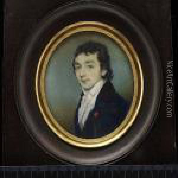A Young Gentleman, Wearing Blue  Coat With Black Velvet Collar And Tied White Cravat, A Red Ribbon Pin To  His Lapel. Oil Painting - George Chinnery
