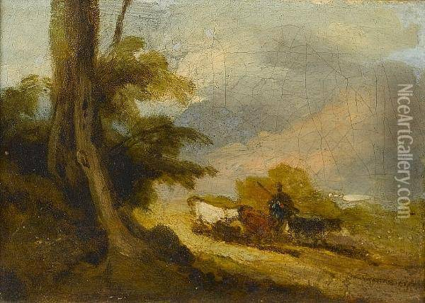 Cattle And A Drover Oil Painting - George Chinnery