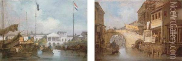 The British And Dutch Factories At Canton; And Canal And Bridge At Honam, Canton Oil Painting - George Chinnery