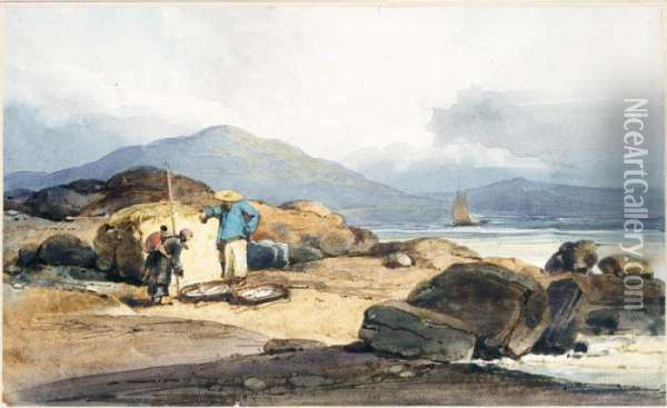 Chinese Fishermen On The Shore With Their Catch Oil Painting - George Chinnery