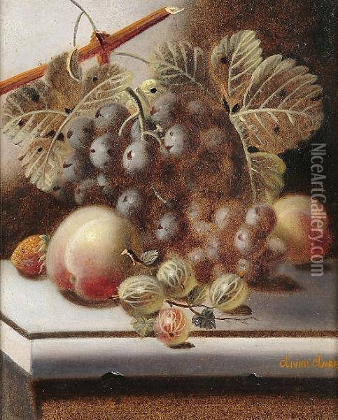 Still Life Of Fruit On A Marble Ledge Oil Painting - Oliver Clare