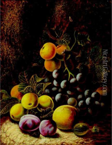 Still Life With Grapes, Plums And Peaches; Still Life With Raspberries And Plums Oil Painting - Oliver Clare
