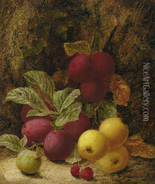 Still Life With Plums, Apples And Raspberries Oil Painting - Oliver Clare
