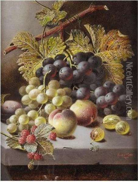Peaches, Grapes And Rasberries Oil Painting - Oliver Clare