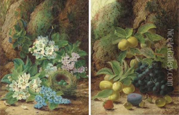Primroses And Apple Blossom, A  Bird's Nest With Eggs, On A Mossy Bank; And Grapes, Plums, Gooseberries,  A Plum And A Strawberry, On A Mossy Bank Oil Painting - Oliver Clare