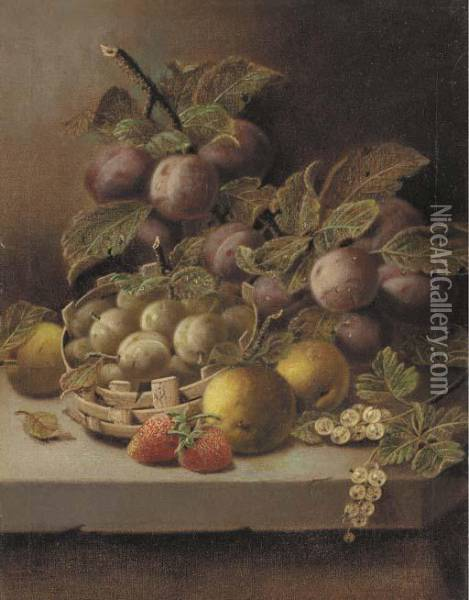 Plums, Apples, Strawberries, And  Whitecurrants With Greengages In Awicker Basket On A Stone Ledge Oil Painting - Oliver Clare