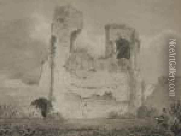 An Artist Sketching The Ruins Of Waverly Castle Oil Painting - John Sell Cotman