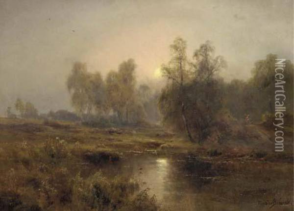 The Silver Birch Of Burnham - Moonrise Oil Painting - Alfred de Breanski