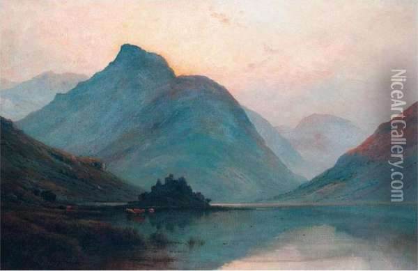 Kilchurn Castle, Loch Awe Oil Painting - Alfred de Breanski