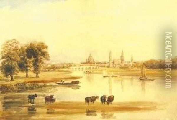 Attributed To. Cattle Grazing By The River Elbe, A View Of Dresden Beyond Oil Painting - Peter de Wint