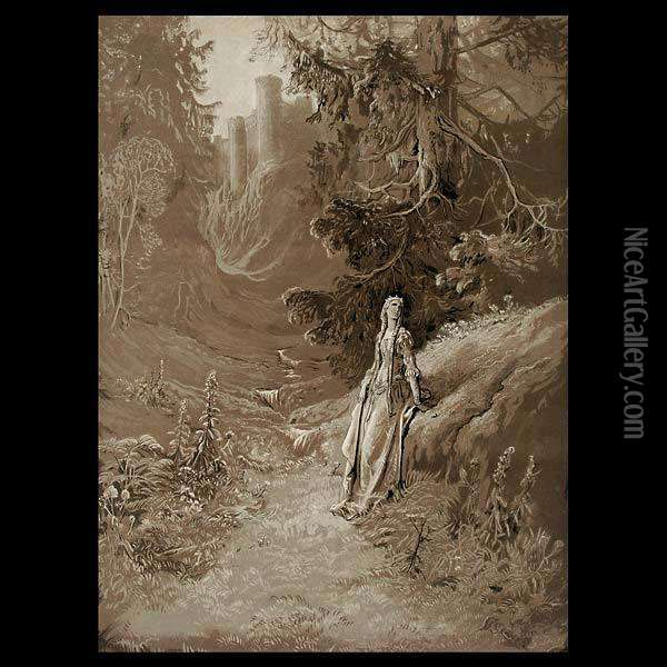 Courtly Scenes And Royalty In Landscapes. Oil Painting - Gustave Dore