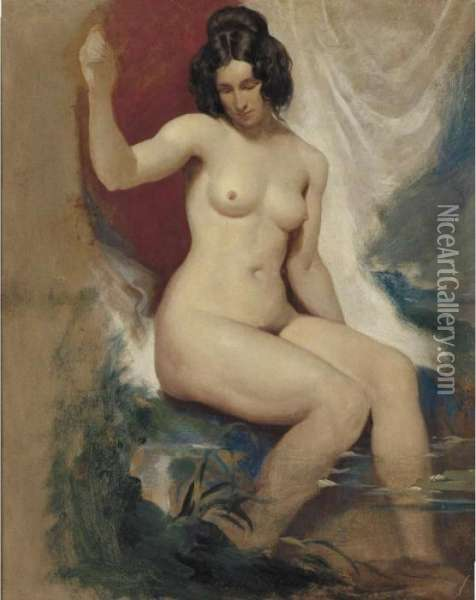 Seated Female Nude Oil Painting - William Etty